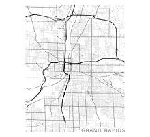 Grand Rapids Map, USA - Black and White Photographic Print