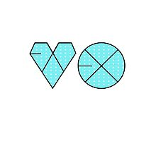 EXO Logo K-Pop Aqua/Blue Polkadot Print by ninagi