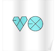 EXO Logo K-Pop Aqua/Blue Polkadot Print Poster