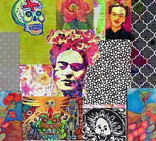 Frida Kahlo and Mexico Collage Pattern by Candace Byington
