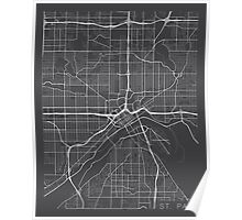 St Paul Map, USA - Gray Poster