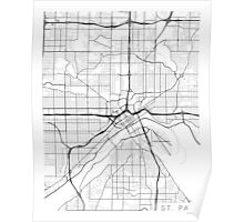 St Paul Map, USA - Black and White Poster