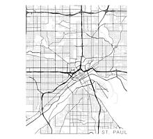 St Paul Map, USA - Black and White Photographic Print