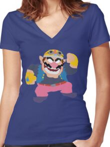 Simplistic Wario Super Smash Bros  Women's Fitted V-Neck T-Shirt