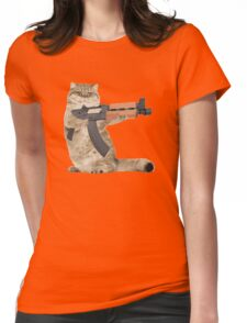 AK47 Kalashnikat Funny Cat Gun Womens Fitted T-Shirt