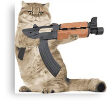 AK47 Kalashnikat Funny Cat Gun Canvas Print