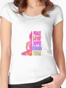 Buddha Peace Loving Hippie Women's Fitted Scoop T-Shirt
