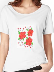 Trusted Red Floral Women's Relaxed Fit T-Shirt