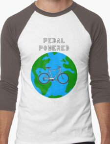 Pedal Powered, no fossil fuels required. Men's Baseball ¾ T-Shirt