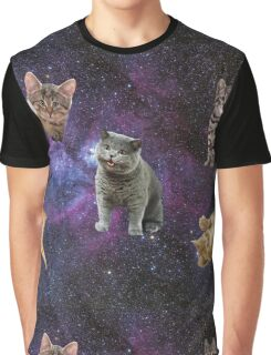 Cats Floating in a Galaxy Graphic T-Shirt