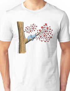 Cute Sleeping Koala on Tree with Hearts Unisex T-Shirt