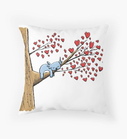 Cute Sleeping Koala on Tree with Hearts Throw Pillow