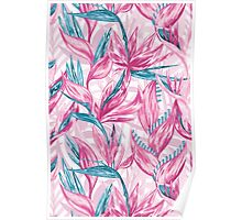 Hand draw tropical flowers Poster