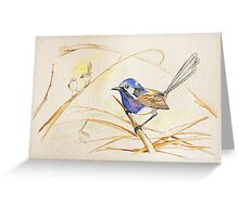 Blue fairywren on watercolour grained paper Greeting Card