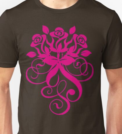 Intense and Beautiful Pink Roses and Leaves , Swirls, Spring Unisex T-Shirt