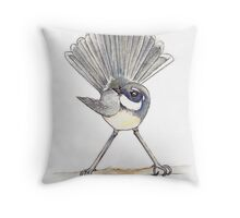 Grey Fantail on white background Throw Pillow