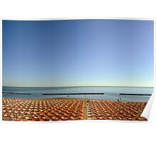Long chairs on the beach in Rimini. Poster