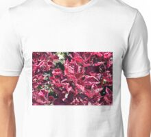 Texture with pink purple leaves. Unisex T-Shirt
