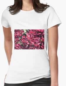 Texture with pink purple leaves. Womens Fitted T-Shirt