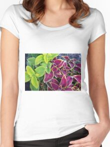 Natural background with green and purple leaves. Women's Fitted Scoop T-Shirt