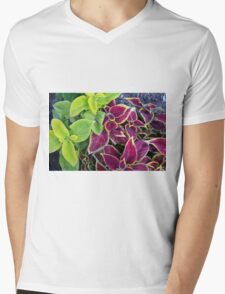 Natural background with green and purple leaves. Mens V-Neck T-Shirt