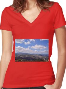 Natural scenery with the hills of San Marino and cloudy sky. Women's Fitted V-Neck T-Shirt