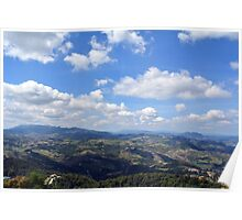 Natural scenery with the hills of San Marino and cloudy sky. Poster