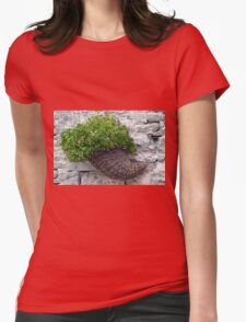 Wooden horn with plants on a stone wall. Womens Fitted T-Shirt