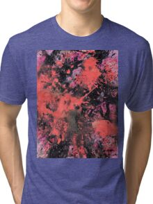"""Pink and black abstract painting - """"Pink Explosion"""". Tri-blend T-Shirt"""