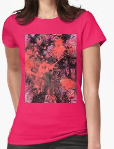 "Pink and black abstract painting - ""Pink Explosion"". Womens Fitted T-Shirt"