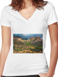 Light breaks on the mountain and trees Women's Fitted V-Neck T-Shirt