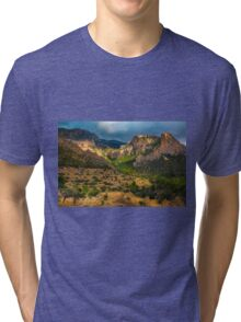 Light breaks on the mountain and trees Tri-blend T-Shirt