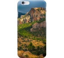 Light breaks on the mountain and trees iPhone Case/Skin