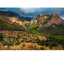 Light breaks on the mountain and trees Photographic Print