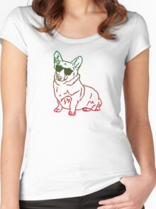 Corgi glass Women's Fitted Scoop T-Shirt