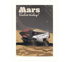 Mars, Enlist today! Retro Military space poster. Art Print