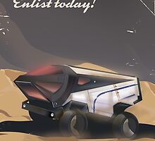 Mars, Enlist today! Retro Military space poster. by Nick  Greenaway