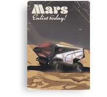 Mars, Enlist today! Retro Military space poster. Canvas Print