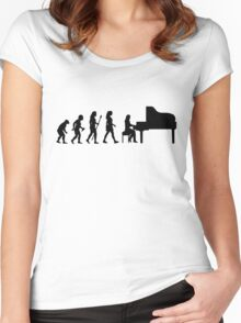 Women's Piano T Shirt Evolution Of The Pianist  Women's Fitted Scoop T-Shirt