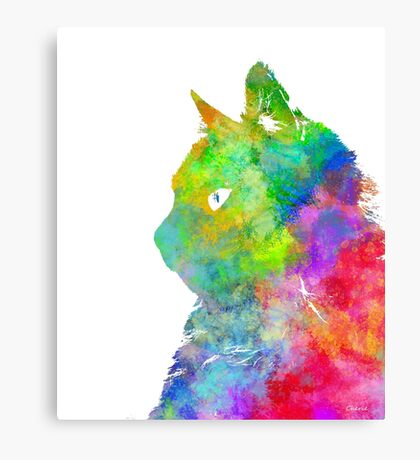 Colourful Watercolour Cat Canvas Print