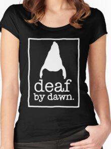 DEAF BY DAWN White Logotype Women's Fitted Scoop T-Shirt