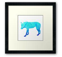 Blue Watercolour Wolf Framed Print
