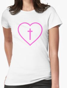 Heart And Cross Womens Fitted T-Shirt