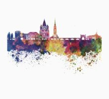 Metz skyline in watercolor background One Piece - Short Sleeve