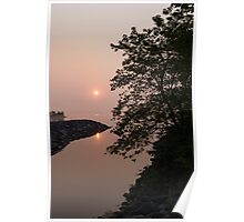 Pink and Green Summer - Soft Misty Sunrise on the Lake Poster