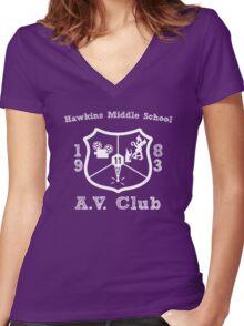 Hawkins Middle School AV Club - White Women's Fitted V-Neck T-Shirt