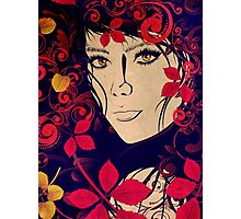 Autumn Girl with Floral Grunge 2 Photographic Print