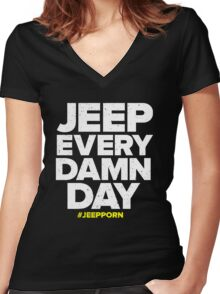 funny tshirt, JEEP Women's Fitted V-Neck T-Shirt