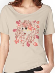 Autumn Girl with Floral 2 Women's Relaxed Fit T-Shirt