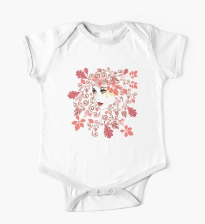Autumn Girl with Floral 2 One Piece - Short Sleeve